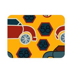 Husbands Cars Autos Pattern On A Yellow Background Double Sided Flano Blanket (mini)
