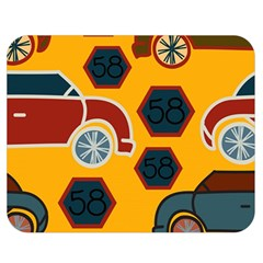 Husbands Cars Autos Pattern On A Yellow Background Double Sided Flano Blanket (Medium)