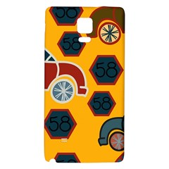 Husbands Cars Autos Pattern On A Yellow Background Galaxy Note 4 Back Case