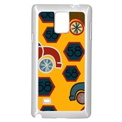 Husbands Cars Autos Pattern On A Yellow Background Samsung Galaxy Note 4 Case (White)