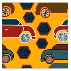 Husbands Cars Autos Pattern On A Yellow Background Large Satin Scarf (square)