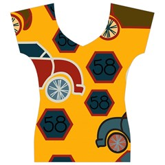 Husbands Cars Autos Pattern On A Yellow Background Women s V-Neck Cap Sleeve Top