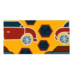 Husbands Cars Autos Pattern On A Yellow Background Satin Shawl