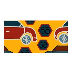 Husbands Cars Autos Pattern On A Yellow Background Satin Wrap