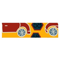 Husbands Cars Autos Pattern On A Yellow Background Satin Scarf (Oblong)