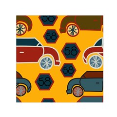 Husbands Cars Autos Pattern On A Yellow Background Small Satin Scarf (square)