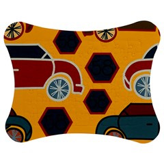 Husbands Cars Autos Pattern On A Yellow Background Jigsaw Puzzle Photo Stand (Bow)