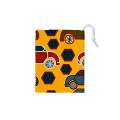 Husbands Cars Autos Pattern On A Yellow Background Drawstring Pouches (XS)