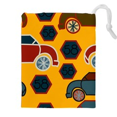 Husbands Cars Autos Pattern On A Yellow Background Drawstring Pouches (XXL)