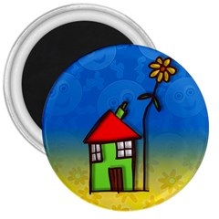 Colorful Illustration Of A Doodle House 3  Magnets