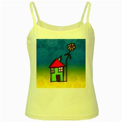 Colorful Illustration Of A Doodle House Yellow Spaghetti Tank