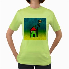 Colorful Illustration Of A Doodle House Women s Green T-Shirt