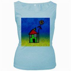 Colorful Illustration Of A Doodle House Women s Baby Blue Tank Top