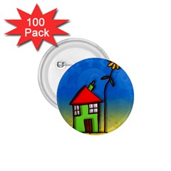 Colorful Illustration Of A Doodle House 1.75  Buttons (100 pack)
