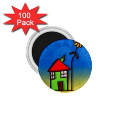 Colorful Illustration Of A Doodle House 1.75  Magnets (100 pack)