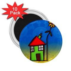 Colorful Illustration Of A Doodle House 2 25  Magnets (10 Pack)