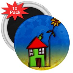 Colorful Illustration Of A Doodle House 3  Magnets (10 Pack)