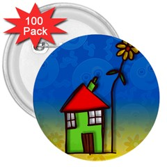 Colorful Illustration Of A Doodle House 3  Buttons (100 Pack)