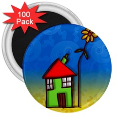 Colorful Illustration Of A Doodle House 3  Magnets (100 pack)