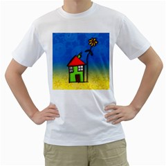 Colorful Illustration Of A Doodle House Men s T-Shirt (White) (Two Sided)