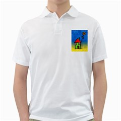 Colorful Illustration Of A Doodle House Golf Shirts