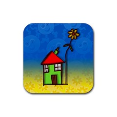 Colorful Illustration Of A Doodle House Rubber Square Coaster (4 pack)