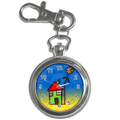 Colorful Illustration Of A Doodle House Key Chain Watches
