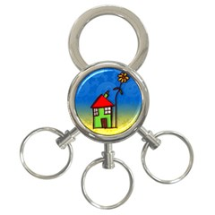 Colorful Illustration Of A Doodle House 3 Ring Key Chains