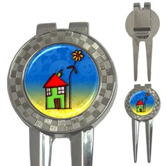 Colorful Illustration Of A Doodle House 3 In 1 Golf Divots