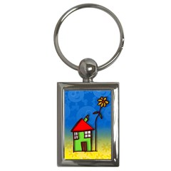 Colorful Illustration Of A Doodle House Key Chains (Rectangle)