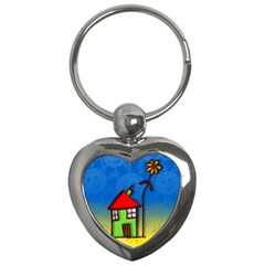 Colorful Illustration Of A Doodle House Key Chains (heart)