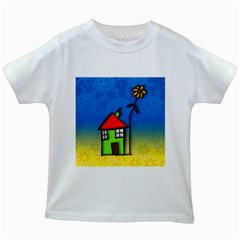Colorful Illustration Of A Doodle House Kids White T Shirts