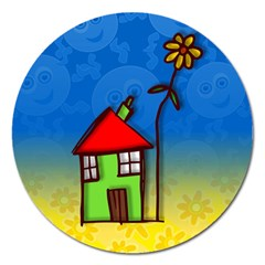 Colorful Illustration Of A Doodle House Magnet 5  (Round)