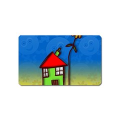 Colorful Illustration Of A Doodle House Magnet (Name Card)