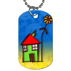 Colorful Illustration Of A Doodle House Dog Tag (one Side)