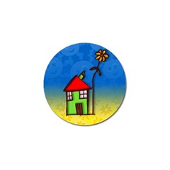 Colorful Illustration Of A Doodle House Golf Ball Marker