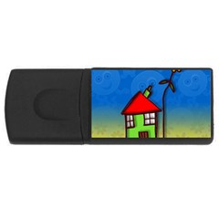 Colorful Illustration Of A Doodle House USB Flash Drive Rectangular (2 GB)