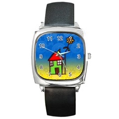 Colorful Illustration Of A Doodle House Square Metal Watch
