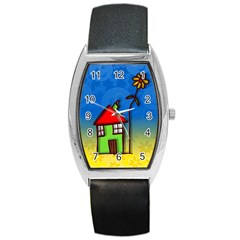 Colorful Illustration Of A Doodle House Barrel Style Metal Watch