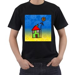 Colorful Illustration Of A Doodle House Men s T Shirt (black) (two Sided)
