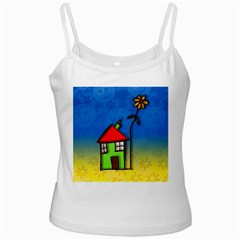 Colorful Illustration Of A Doodle House Ladies Camisoles