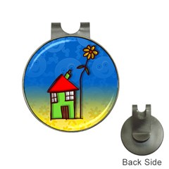 Colorful Illustration Of A Doodle House Hat Clips With Golf Markers