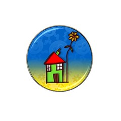 Colorful Illustration Of A Doodle House Hat Clip Ball Marker (4 pack)