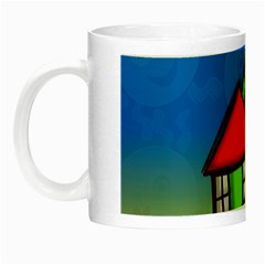 Colorful Illustration Of A Doodle House Night Luminous Mugs