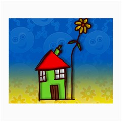 Colorful Illustration Of A Doodle House Small Glasses Cloth