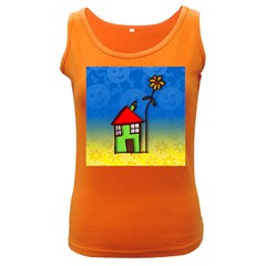 Colorful Illustration Of A Doodle House Women s Dark Tank Top
