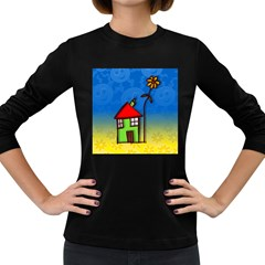 Colorful Illustration Of A Doodle House Women s Long Sleeve Dark T Shirts