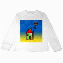 Colorful Illustration Of A Doodle House Kids Long Sleeve T-Shirts