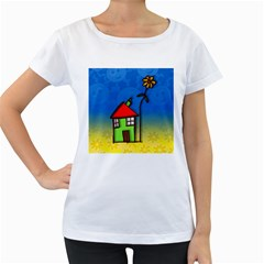 Colorful Illustration Of A Doodle House Women s Loose-Fit T-Shirt (White)