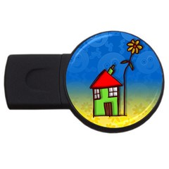 Colorful Illustration Of A Doodle House USB Flash Drive Round (4 GB)